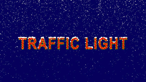 New Year text sale tag TRAFFIC LIGHT. Snow falls. Christmas mood, looped video. Animation
