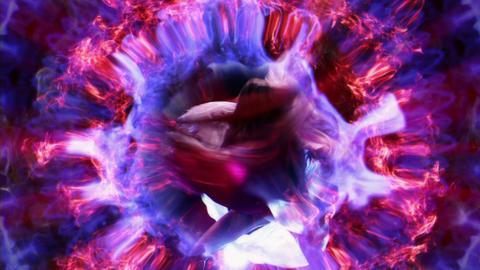 Eva Glitch Pink and Purple Smoke Moss Flower VJ Loop Live Action