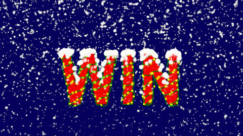 New Year text text WIN. Snow falls. Christmas mood, looped video. Alpha channel Animation