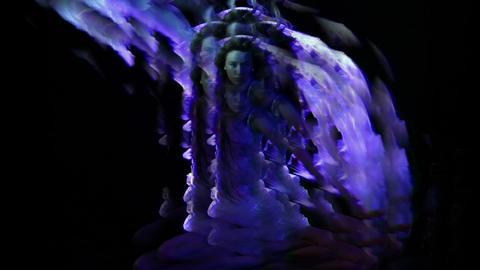 EVa Glitch Light Blue Dancing Black Background VJ Loop Footage