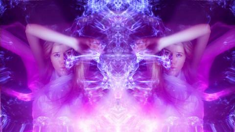Dancing Eva Glitch Purple Cloth Smoke VJ Loop Footage