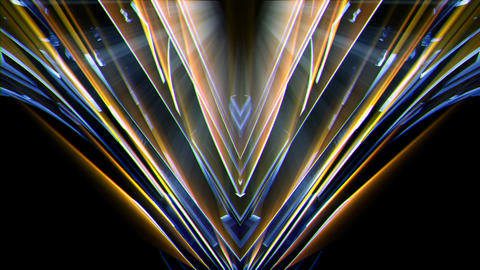 Triangle Crystal FLower Motion With Golden Shining Rays VJ Loop Live Action