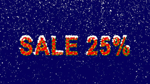New Year text sale tag SALE 25%. Snow falls. Christmas mood, looped video. Alpha Animation