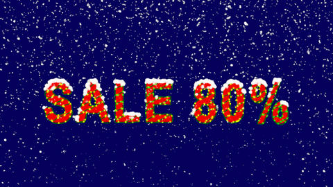 New Year text sale tag SALE 80%. Snow falls. Christmas mood, looped video. Alpha Animation
