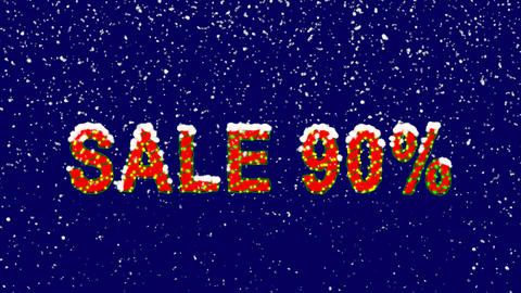 New Year text sale tag SALE 90%. Snow falls. Christmas mood, looped video. Alpha Animation