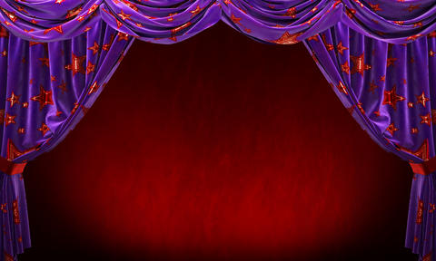 Purple velvet curtain with gold red stars on red background フォト