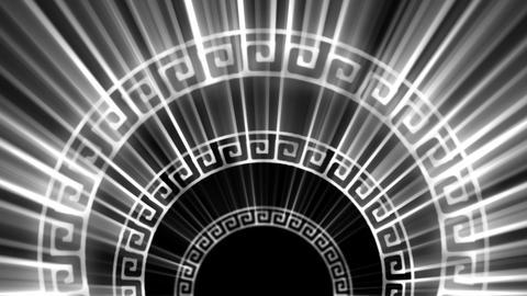 Ancient Greek Symbols Circles With Shining Silver Rays Vj Loop Footage