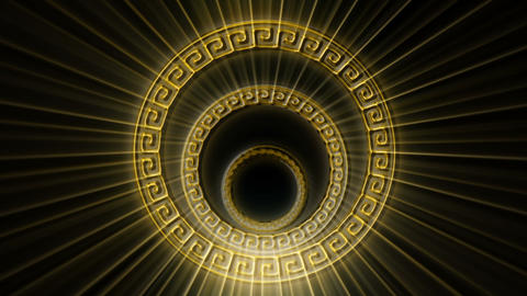 Ancient Golden Cirlces With Shining Golden Rays VJ Loop Live Action