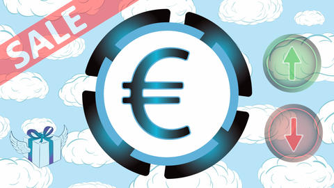 Currency sale in clouds Animation