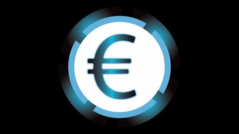 Dollar, bitcoin, euro, yuan on black Animation