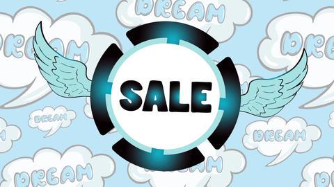 Sale blue icon in dreams Animation