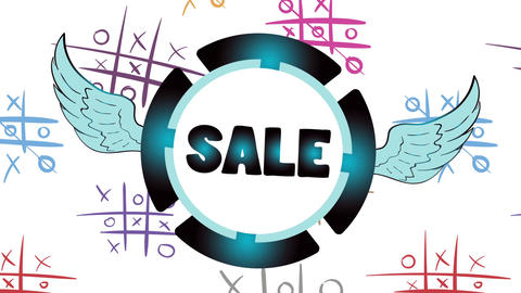 Sale blue icon and tic-tac-toe Animation