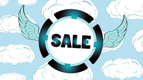 Sale blue icon in clouds Animation