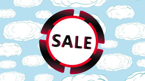 Sale icon in clouds Animation