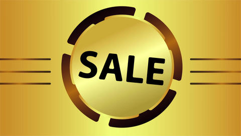 Sale in gold sign Animation