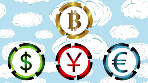 Symbols of currencies on clouds Animation