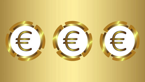 Three icons of euro on gold Animation