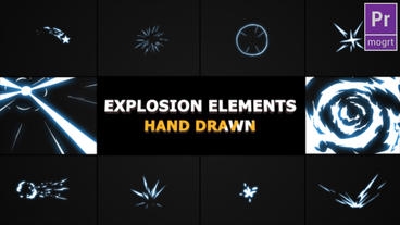 Hand Drawn Explosion Elements And Transitions Motion Graphics Template