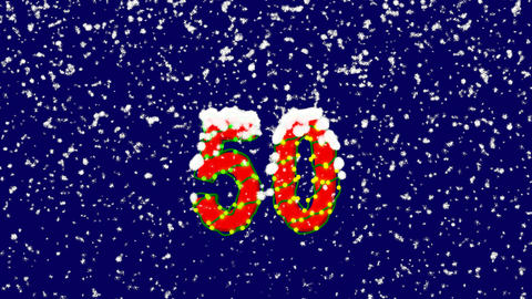 New Year text number fifty 50. Snow falls. Christmas mood, looped video. Alpha Animation