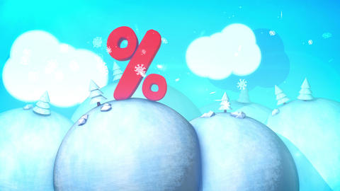 Kiddy landscape with flying winter snowflakes Animation