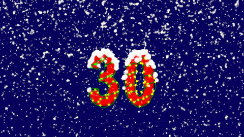 New Year text number thirty 30. Snow falls. Christmas mood, looped video. Alpha Animation