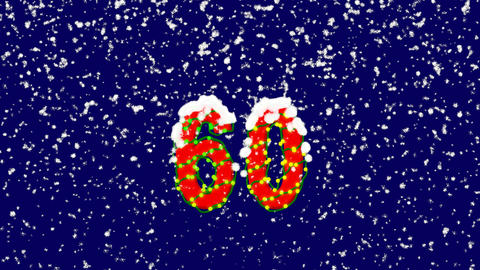 New Year text number sixty 60. Snow falls. Christmas mood, looped video. Alpha Animation