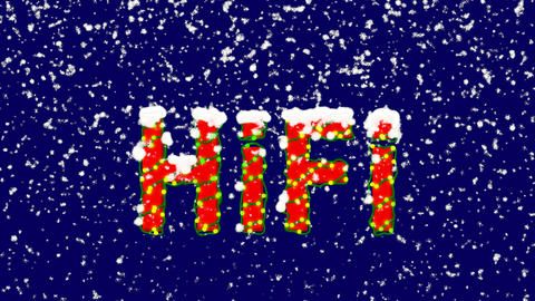 New Year text abbreviation HiFi. Snow falls. Christmas mood, looped video. Alpha Animation
