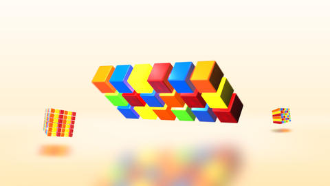 Cube Multicolored CG動画素材