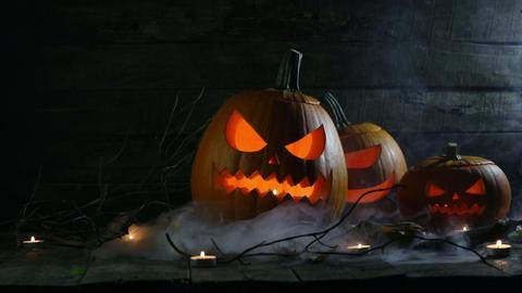 Halloween pumpkins and candles ビデオ