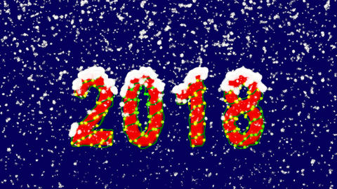 New Year text year 2018. Snow falls. Christmas mood, looped video. Alpha channel Animation
