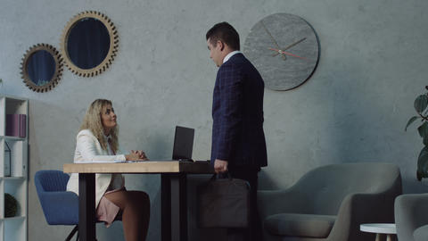 Serious man at job application interview in office Footage