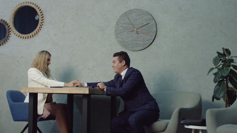 Furious female boss rebuking flirting employees Footage