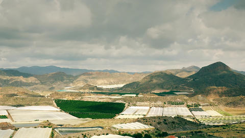Greenhouse farms and fruit orchards of Andalusia, Spain. Time lapse video GIF