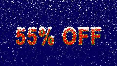 New Year text sale label 55% OFF. Snow falls. Christmas mood, looped video. Animation