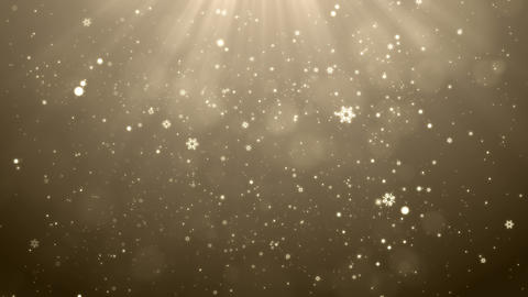 Gold Christmas Snowflakes Falling Background, Christmas Background Looped Animation