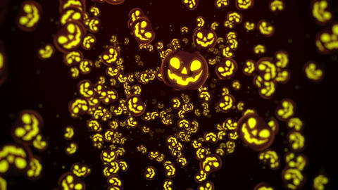 Halloween Background, Looped. Jack-O-Lantern Halloween Pumpkin with scary face CG動画素材