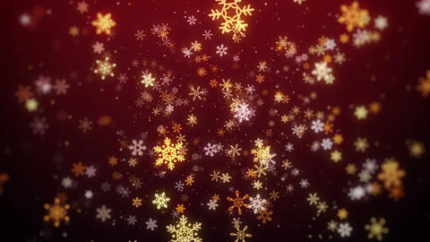 Red Flying Snowflakes Christmas Background, Christmas Background Looped Animation