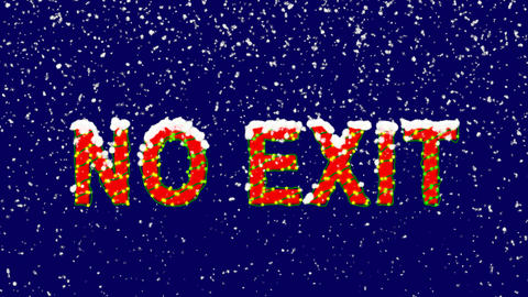 New Year text common expression NO EXIT. Snow falls. Christmas mood, looped Animation