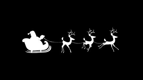 Santa Claus silhouette riding a sleigh with reindeer alpha and looped Videos animados