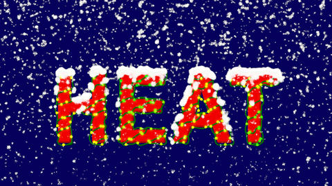 New Year text text HEAT. Snow falls. Christmas mood, looped video. Alpha channel Animation