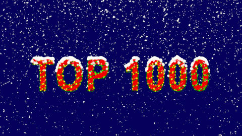New Year text best TOP 1000. Snow falls. Christmas mood, looped video. Alpha Animation