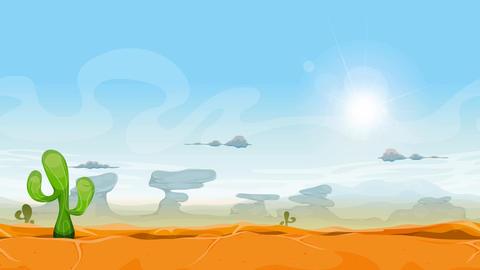 Seamless Western Desert Landscape Animation Animation