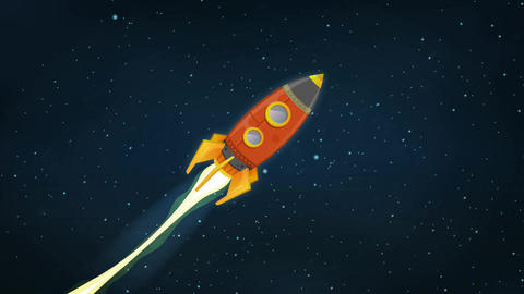 Rocket Ship Flying Through Space Animation Stock Video Footage