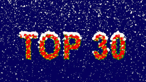 New Year text best TOP 30. Snow falls. Christmas mood, looped video. Alpha Animation