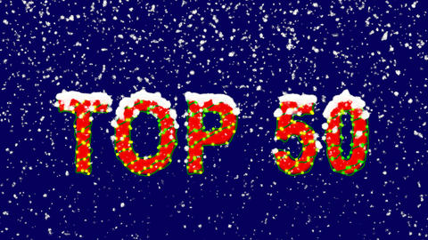 New Year text best TOP 50. Snow falls. Christmas mood, looped video. Alpha Animation