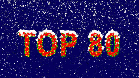 New Year text best TOP 80. Snow falls. Christmas mood, looped video. Alpha Animation