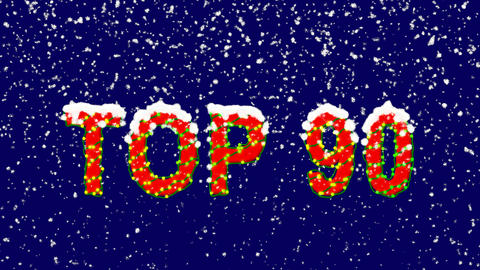 New Year text best TOP 90. Snow falls. Christmas mood, looped video. Alpha Animation