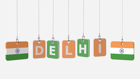 Tags featuring flags of INDIA and Delhi text. Alpha matte for easy background Footage