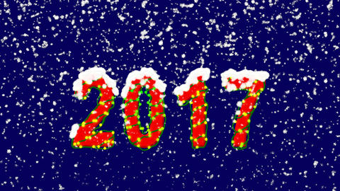 New Year text year 2017. Snow falls. Christmas mood, looped video. Alpha channel Animation