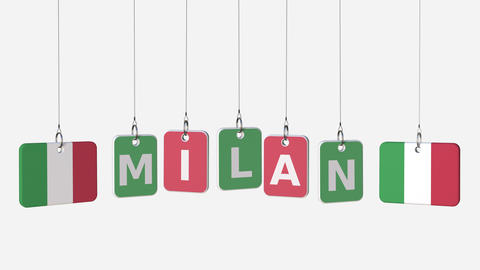 Tags featuring flags of ITALY and Milan text. Alpha matte for easy background Footage